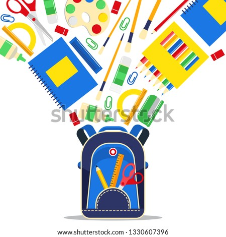 School supplies vector education schooling accessory for schoolchilds backdrop educational stationery for studying in classroom illustration background