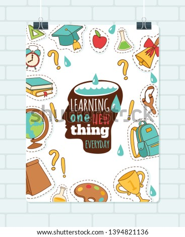 School supplies vector education schooling accessory for schoolchilds backdrop educational stationery for studying in classroom sticker illustration background.