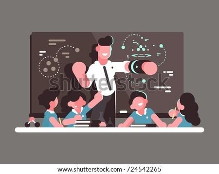 School teacher at lesson. Teaching children in classroom. Vector illustration
