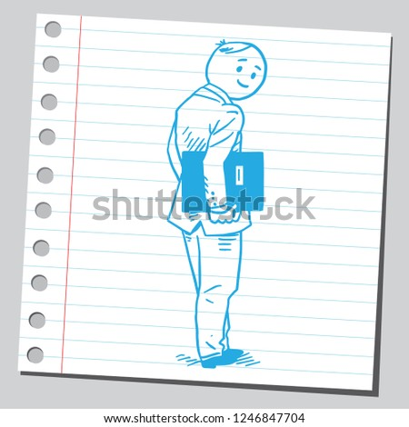 School teacher looking backward