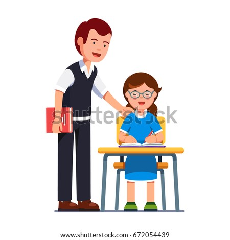 School teacher man standing watching or praising student putting hand on girls shoulder. Kid in glasses sitting at the desk, writing in exercise book. Flat style vector illustration isolated on white.