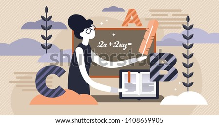 School teacher occupation vector illustration. Flat tiny study learning person concept. Abstract knowledge class with blackboard and ABC. Professional primary or elementary education classroom lesson.
