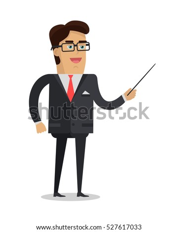 School teacher vector. Flat design. Man character in suit, tie and glasses standing with pointer. Lecturer professor instructor businessman illustration for educational concepts, courses, trainings ad