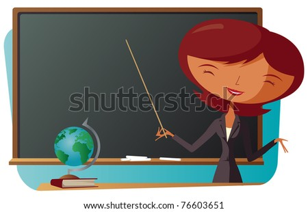 School Teacher With Blackboard