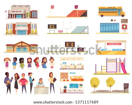 School territory elements classes library and canteen teachers and pupils set of cartoon icons isolated vector illustration