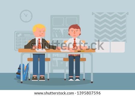 School test cheating flat vector illustration. Schoolmates, classmates in uniform cartoon characters. Kids writing quiz, cheater peaking exam answers. Children breaking rules, bad behavior
