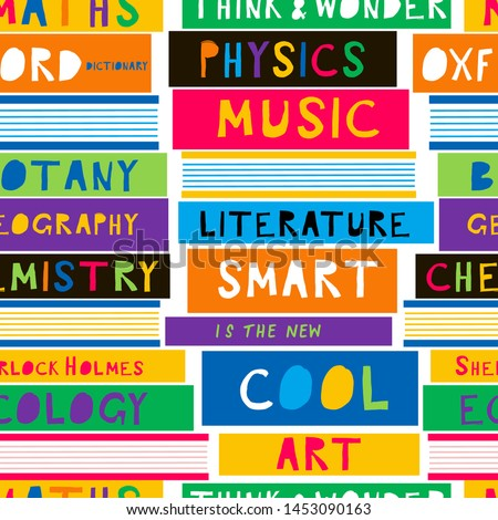 School textbook flat vector seamless pattern. Chemistry, Literature, Physics, Music, Art subjects books background. Education and learning backdrop. Wallpaper, wrapping paper, textile cartoon design
