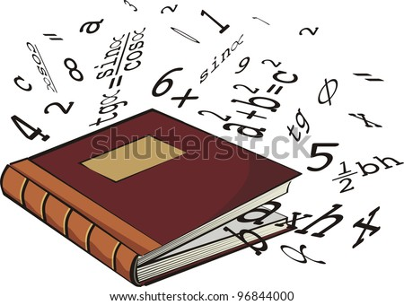 school textbook - numbers and mathematical formulas