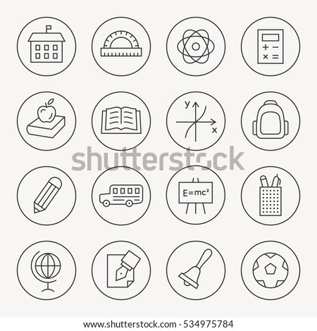 School thin line icon set