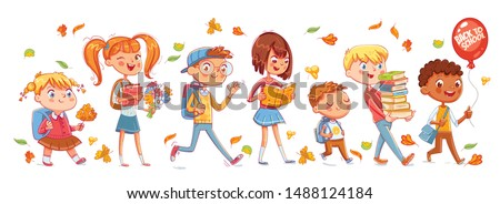 School time. Children go to school. Seamless panorama. Funny cartoon character. Vector illustration. Isolated on white background