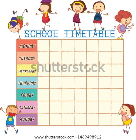 School time table with doodle children illustration