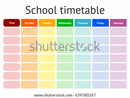 School Timetable, a weekly curriculum design template, scalable vector graphic