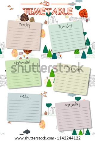 School timetable background for students or pupils.