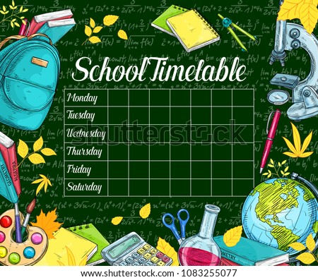 School timetable banner on green chalkboard with school supplies frame. Week lessons schedule template, framed with student book, calculator, globe and backpack sketches with yellow autumn leaves