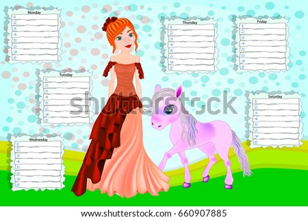 School timetable for children with days of week. Color cartoon princess and her little pony