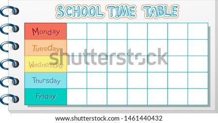 School timetable for young kids