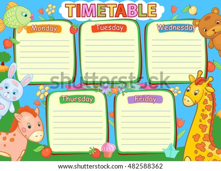 School timetable kids baby child animals kindergarden vector illustration.