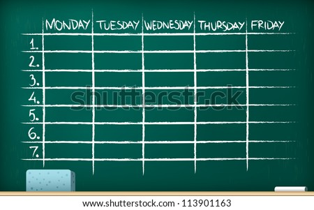 School timetable on blackboard - vector illustration - stock vector