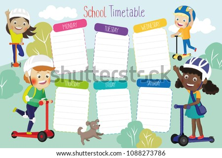School Timetable poster template with illustration of smiling children