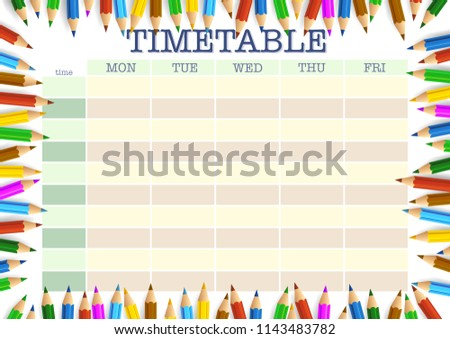 school timetable surrounded by colored pencils template vector illustration
