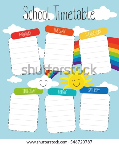 School timetable template for poster, note, book, memorypad