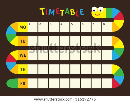School timetable,  Timetable of lessons for students with snake. Designed especially for children.