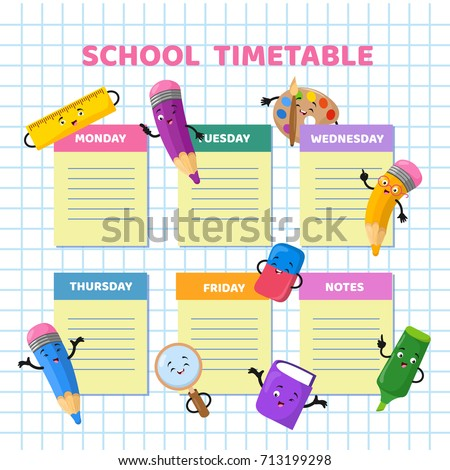 School timetable with funny cartoon stationery characters. Children weekly class schedule vector template. School schedule organizer week calendar illustration
