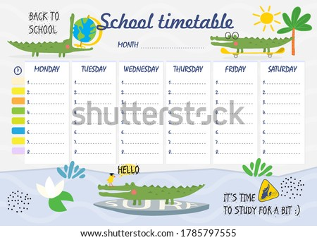 school timetable with funny