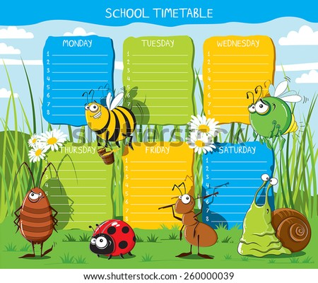 School timetable with funny Insects in the meadow