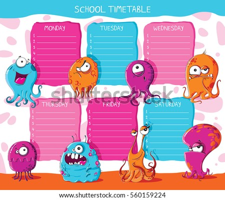 School timetable with funny monsters
