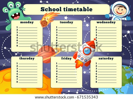 School timetable with space elements