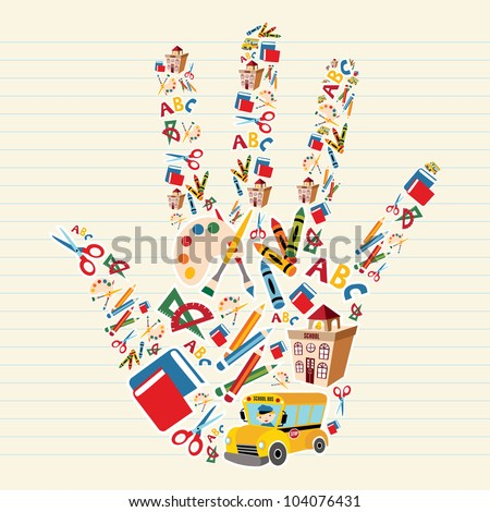 School tools and Supplies in hand shape background.  Vector file layered for easy manipulation and custom coloring.