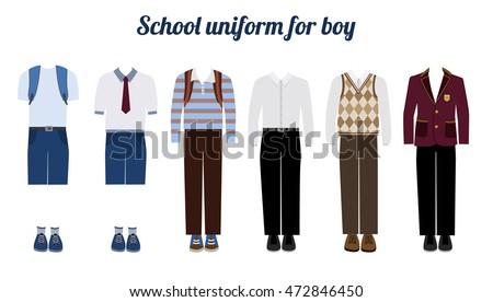 School uniform for boys kit flat vector illustration Set of male school dress code clothes. Collared button shirl, trousers, blazer and boots.