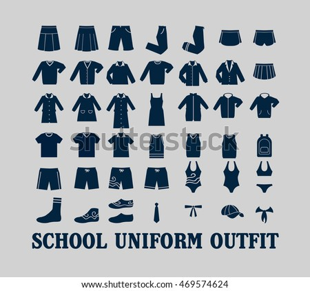school uniform outfit vector