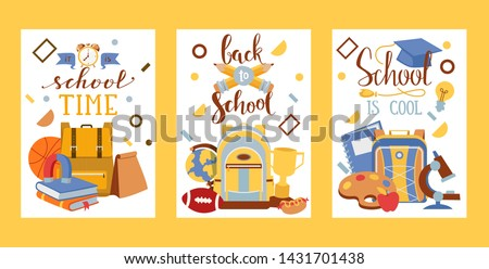 School vector education schooling supplies accessory for schoolchilds backpack bag backdrop educational stationery for studying in classroom illustration set of background.
