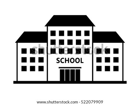 School vector icon on white background, isolated building