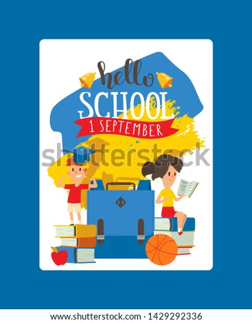 School vector schoolchild charcater boy girl with education schooling supplies accessory backpack bag backdrop children educational stationery for studying in classroom illustration background.
