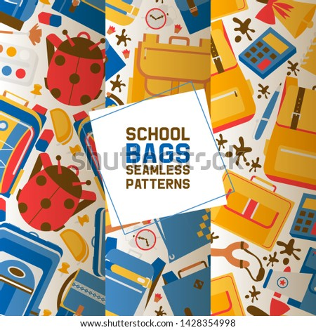 School vector seamless pattern kids education schooling supplies accessory schoolchilds backpack bag backdrop childish educational stationery for studying in classroom illustration set of background.