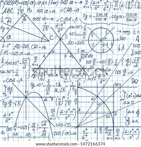 School vector seamless pattern with handwritten mathematical and physical formulas, figures and calculations, copybook grid paper