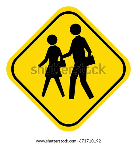 School warning sign,students crossing sign