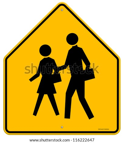 School warning sign yellow road sign with black silhouettes of
