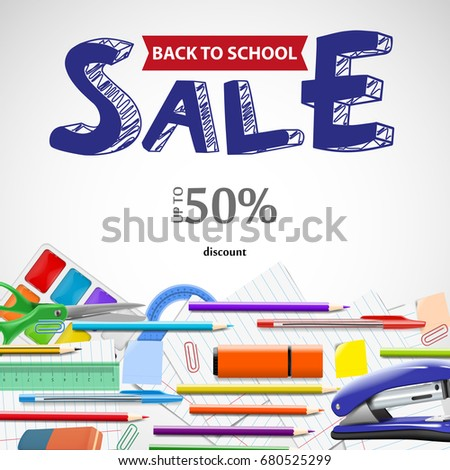 School wholesale ad background with chalkboard and supplies, stationery equipment Vector realistic illustration for advertising and design