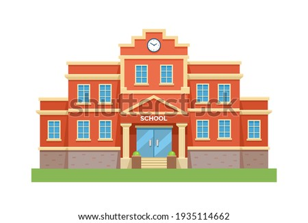 School with a green lawn. Icon. Flat vector illustration isolated on white background.