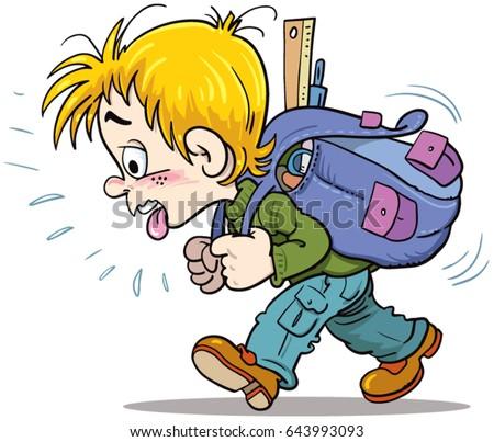 schoolboy and big backpack