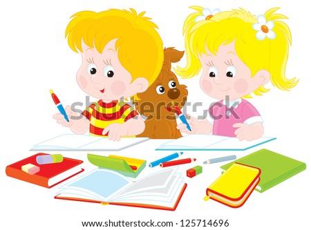 Schoolboy and schoolgirl doing their homework