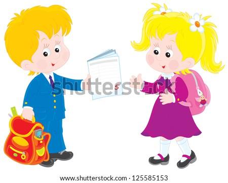 Schoolboy and schoolgirl talking