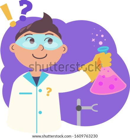 Schoolboy in a dressing gown and glasses with a flask conducts chemical experiments, a flat vector illustration study chemical experiments