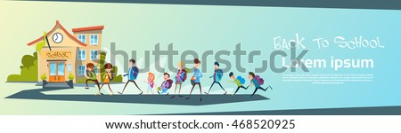 Schoolchildren Group Go Back To School Education Banner Flat Vector Illustration