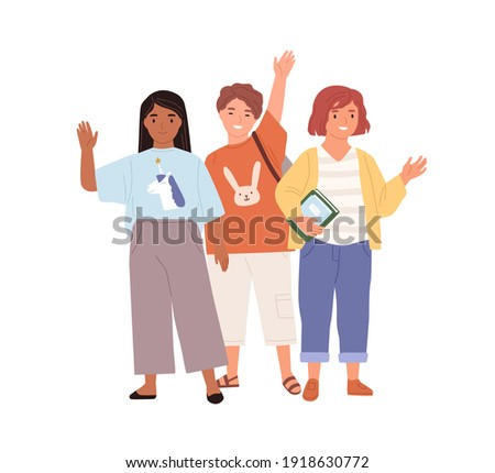 Schoolchildren waving hands and saying hi or bye to school. Diverse kids standing together. Boy and girls smiling and greeting pupils. Colored flat vector illustration isolated on white background