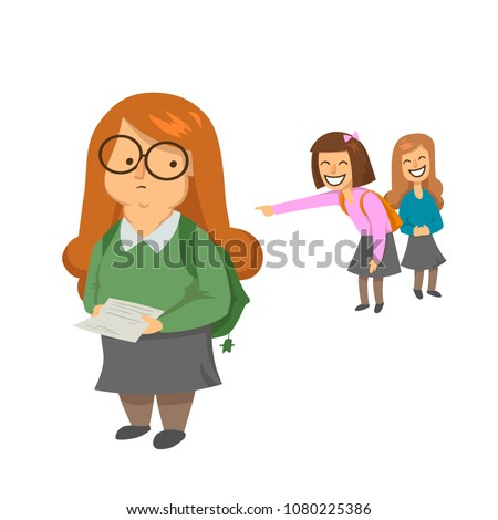 Schoolgirls laughing and pointing at obese girl. Body shaming, fat shaming. Bulling at school. Flat vector illustration. Isolated on white background.